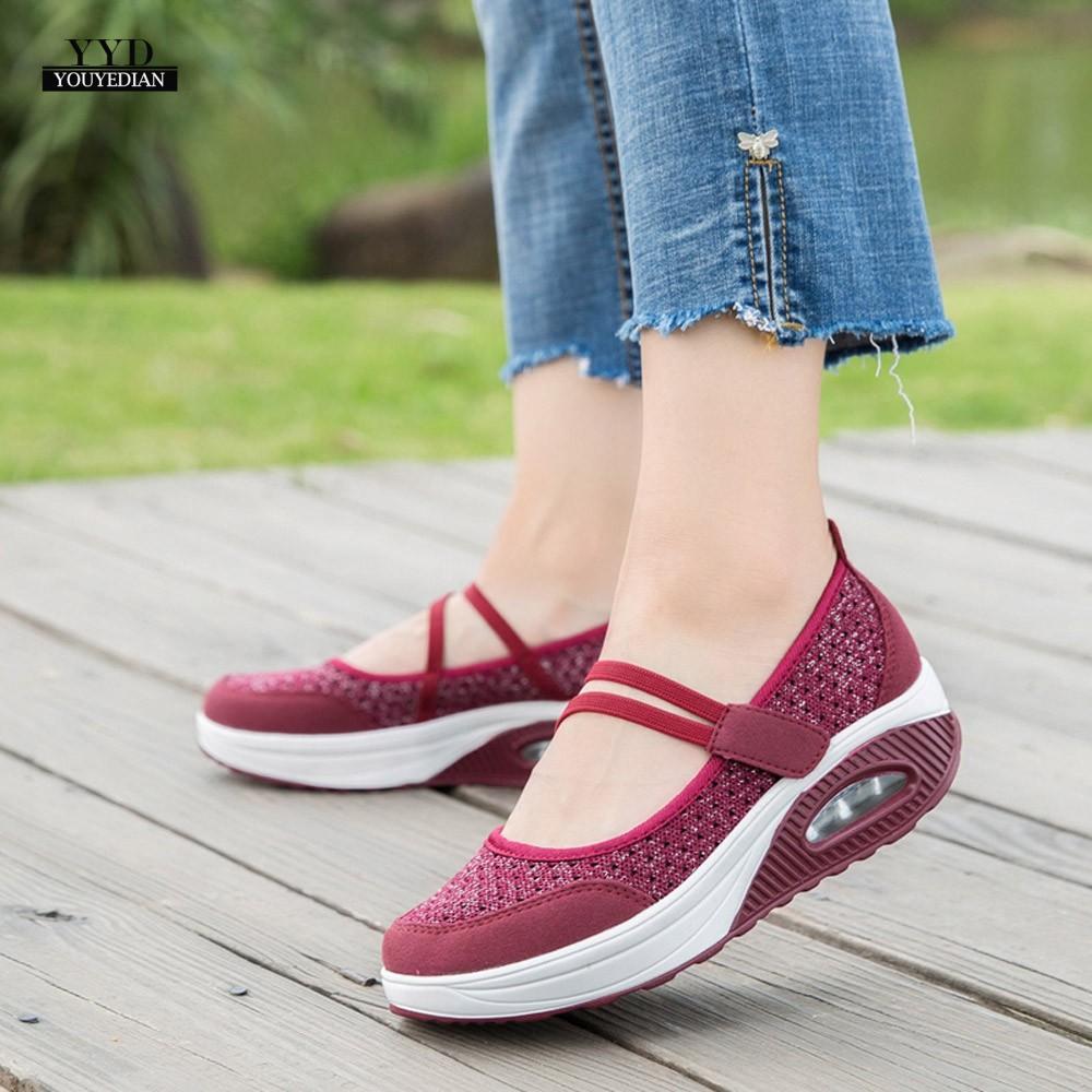 c8635cc5a1ddc6 Bascule Femmes forme Chaussures Fond A4 Plate Maille Coussin blanc Noir  rouge Sapatilha De À ...