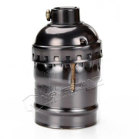 Ретро Винтаж Эдисон E26/E27 винт лампы алюминиевый корпус база лампа держатель подвесной светильник ing разъем потолочный светильник адаптер кабель - Цвет: No Wire No Switch BK