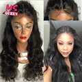 Hot Style Synthetic Lace Front Wig Long Body Wave Glueless Lace Wigs Black Color Heat Resistant Fiber Synthetic Wigs