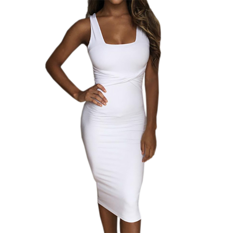 Women Summer Bodycon Dress Scoop Collar Sleeveless O-neck Sexy Dresses Sheath Clubwear Party Dress Femme GV575
