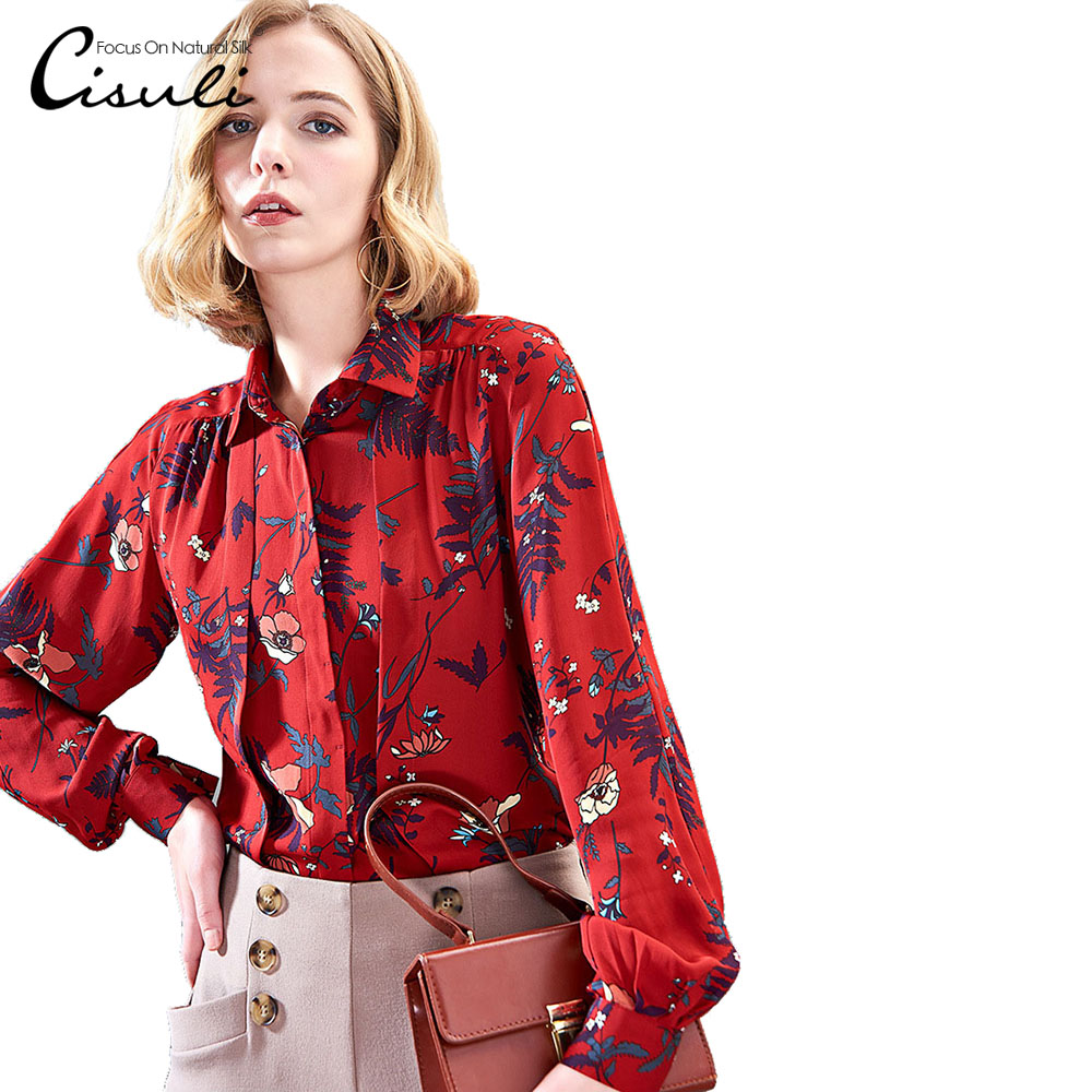 CISULI 100 Mulberry Silk Blouses Women Shirts Silk Crepe Fabric Natural Silk Flower Printed