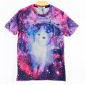 [Amy] Harajuku mujeres hombres galaxy 3d print t shirt espacio blanco lindo gato impreso Camisetas de Calle Fresco camisetas tops tees rop