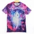[Amy] Harajuku mulheres homens 3d camiseta galáxia impressão espaço branco gato bonito impresso Tshirts Rua Legal camisetas tops tees rop
