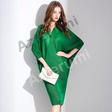 ФОТО miyake pleated women half sleeve round neck knee-length dress female red black blue fashion casual short elegant dresses vestido