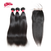 Ali Queen Virgin Brazilian Straight Hair 3 Bundles With Lace Closure Free/Middle/Three Part Pre Plucked Human Hair Lace Closure