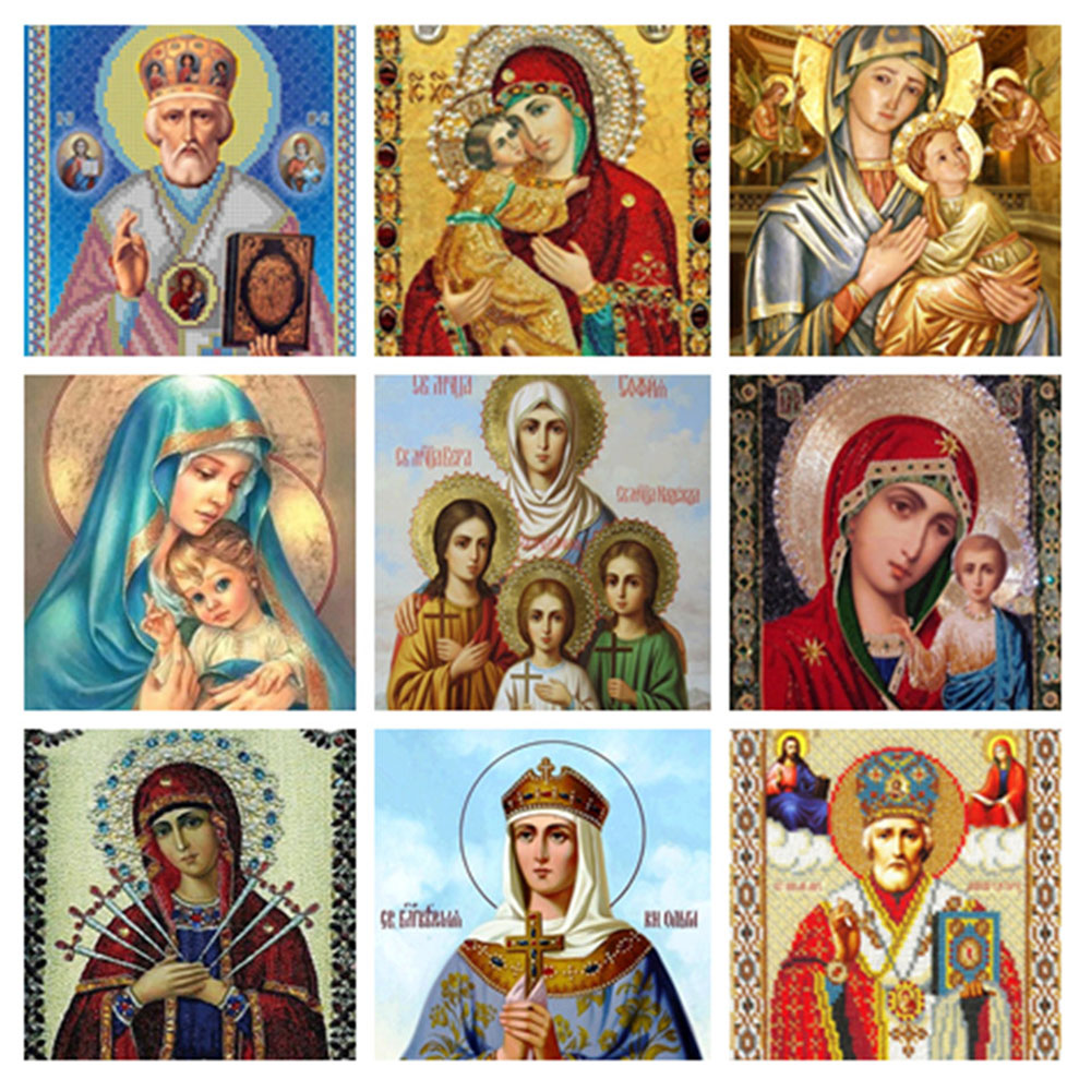 11 Types Religion Icon DIY Diamond Painting Cross Stitch 5D Full Diamond Embroidery Mosaic Christmas/New Year Decoration Gift