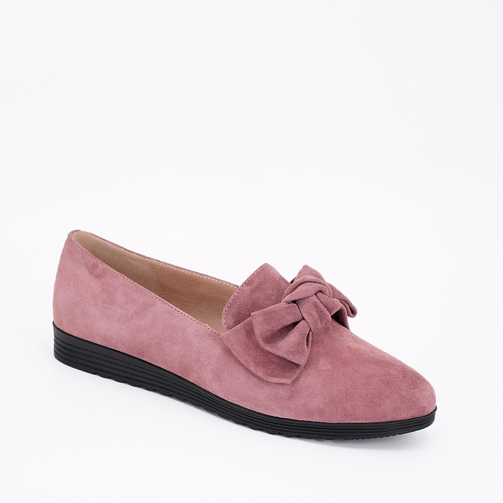 SOPHITINA 2019 Handmade Flats High Quality Pink Kid Suede Loafers Round Toe Genuine Leather Butterfly knot