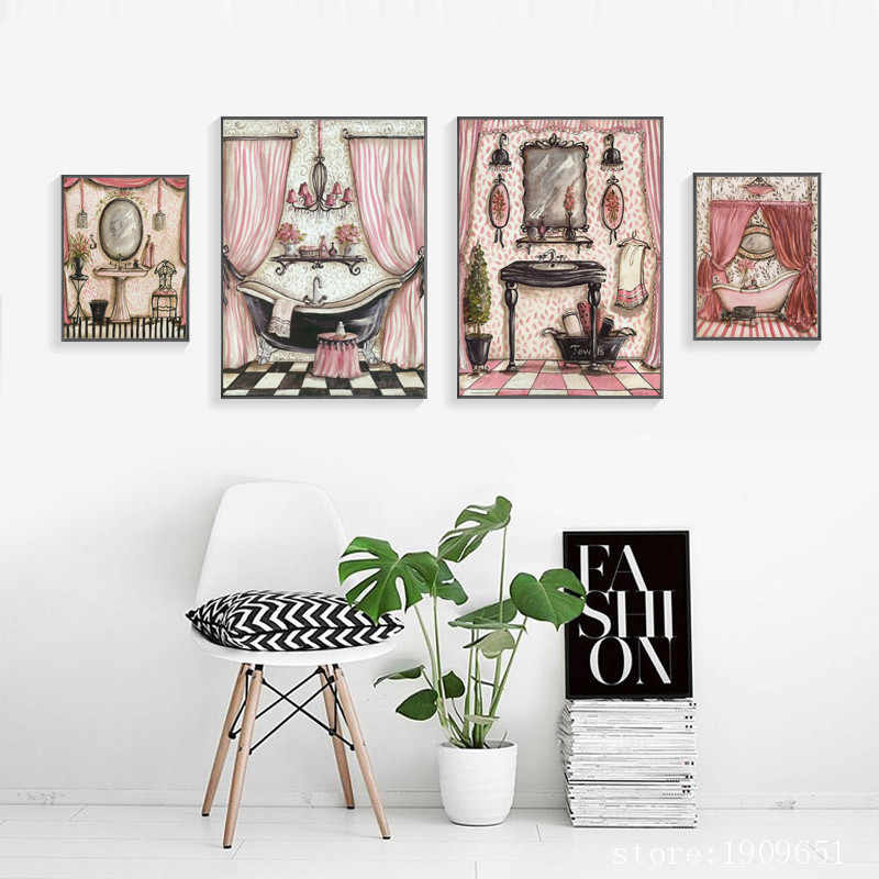 no frame modern pink bathroom scenery canvas printings oil painting printed on cotton home wall art decoration pictures