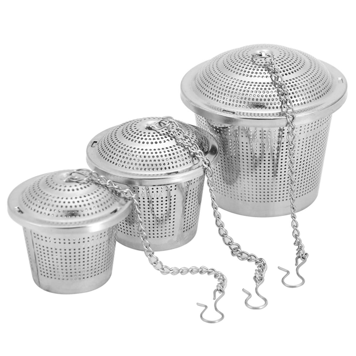 1Pc  Reusable Tea Infuser  Locking Spice Tea Ball Stainless Steel Multifunction Mesh Herbal Ball Tea Spice Strainer