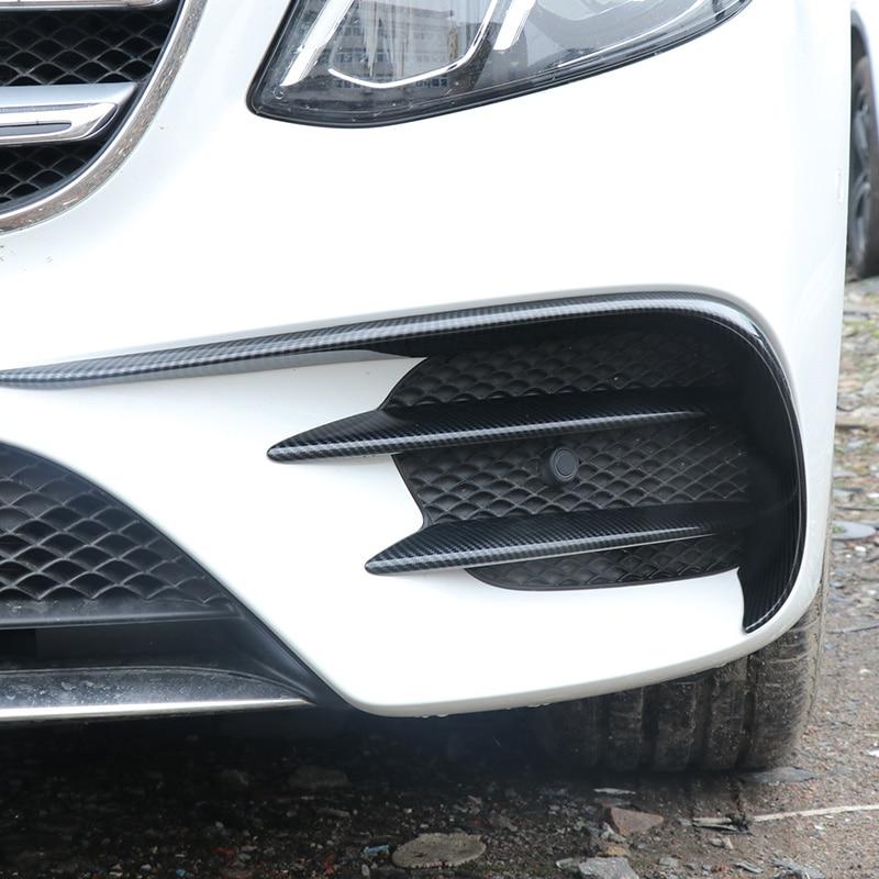 Pour mercedes-benz W213 autocollants de voiture en fibre de carbone W213 pare-chocs avant antibrouillard bande lumineuse autocollants décoratifs modifiés AMG