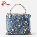 Gold and Sliver denim jean casual women handbags designer weaving shoulder bags rhinestone decorative womens messenger bag totes