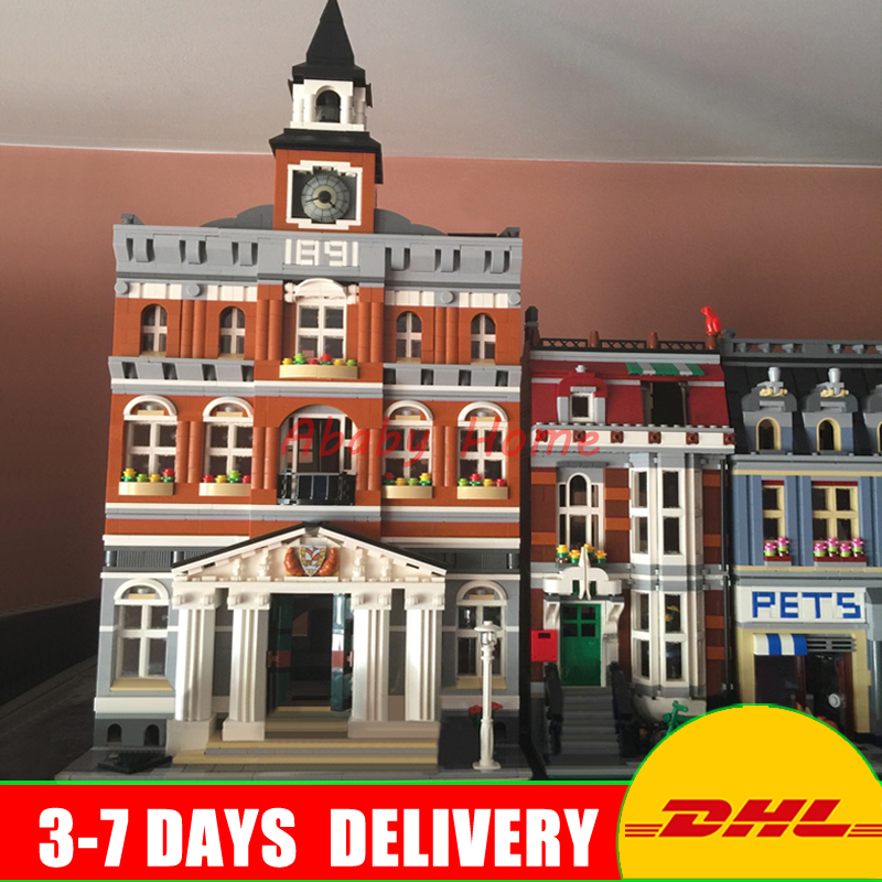 DHL Lepin City Street Series 15003 Town Hall+15009 Pet Shop Supermarket Building Blocks Bricks Model Toys Clone 10224 10218 lepin 15003 town hall lepin 15009 pet shop supermarket city street model building blocks bricks lgoings toys clone 10224 10218