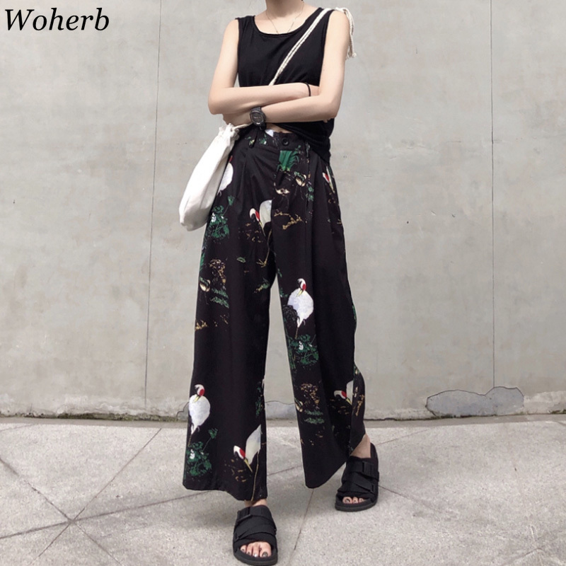 Woherb Harajuku Korean Vintage Crane Print   Wide     Leg     Pants   2019 Fashion Streetwear Ankle Length   Pants   Female Casual Trousers