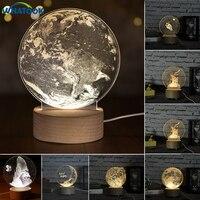 Internal Sculpture 3D Moon Night Light Unicorn Little Prince Table Lamp Abajur LED luminaria Baby Sleeping Nightlight Home Decor