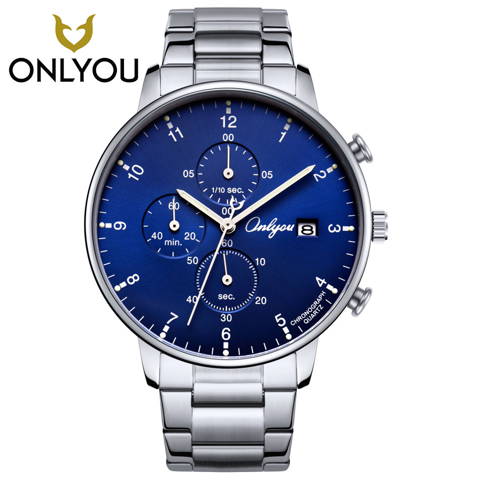 ONLYOU Man Sports Luxury Watch Men Business Watches Stainless Steel Quartz Wristwatch fashion Men watch Clock relogio masculino new listing men watch luxury brand watches quartz clock fashion leather belts watch cheap sports wristwatch relogio male gift