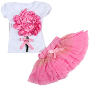 Cotton 2pcs Flower Bow Tulle  Baby Girl Party Tutu Skirts Summer Baby Kids Girls Clothes Sets Mini Tops T-Shirts New Pink 2-6Y 2016 new fashion boutique outfits for omika baby girls sets with 2 pcs cute print long sleeve tops bow tutu skirts size 4 12y