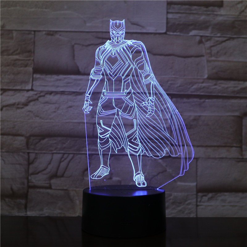 Cartoon Popular Figure Superhero Black Panther 3D Lamp Children's Night Light LED Bulb Multicolor For Kid Room Battery Operated