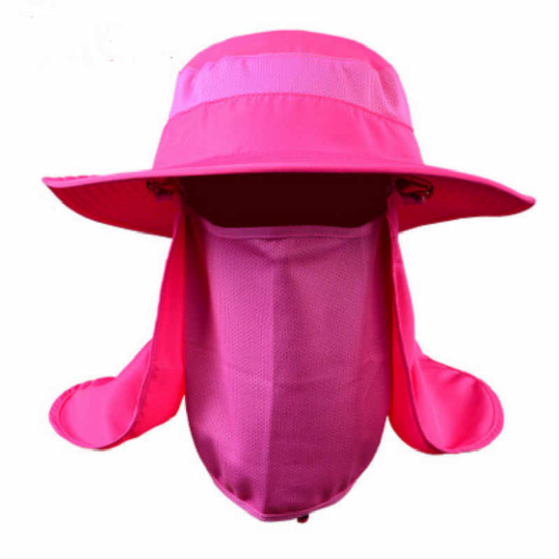17163328f02 ... Army green gray rose khaki orange camo wide brim bucket hat with string  UV face neck