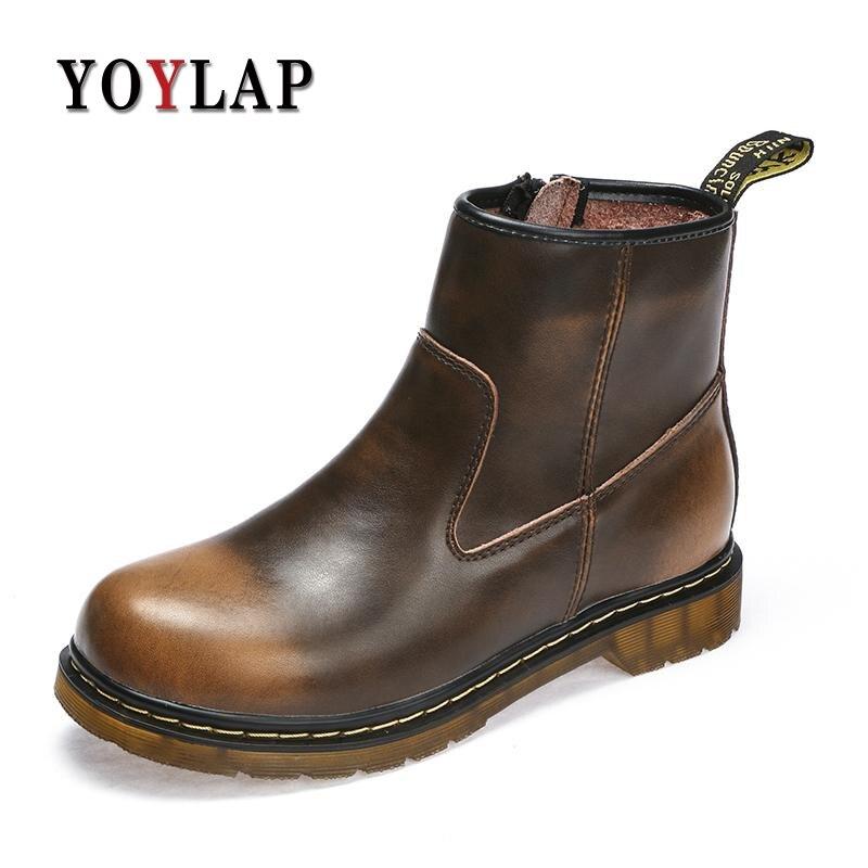 Винтаж натуральная замшевые кожаные ботинки Для мужчин коричневый, черный ботильоны Мужские ботинки молния Доктор Мартинс Мужская обувь р... ...