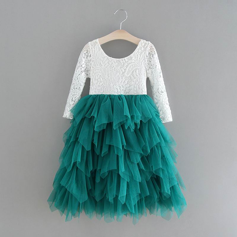 69ca872cbc1 Detail Feedback Questions about Retail New Girls Princess Dresses Lace  Flower Tiered Tulle Maxi Dress Long Sleeve For Wedding Party Children  Clothes E17104 ...