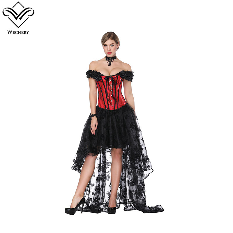 Wechery Elastic Lace Skirt & Red Lace Up Bustier Tops Long High Low Floral Skirts with Slimming Off Shoulder Top Steampunk