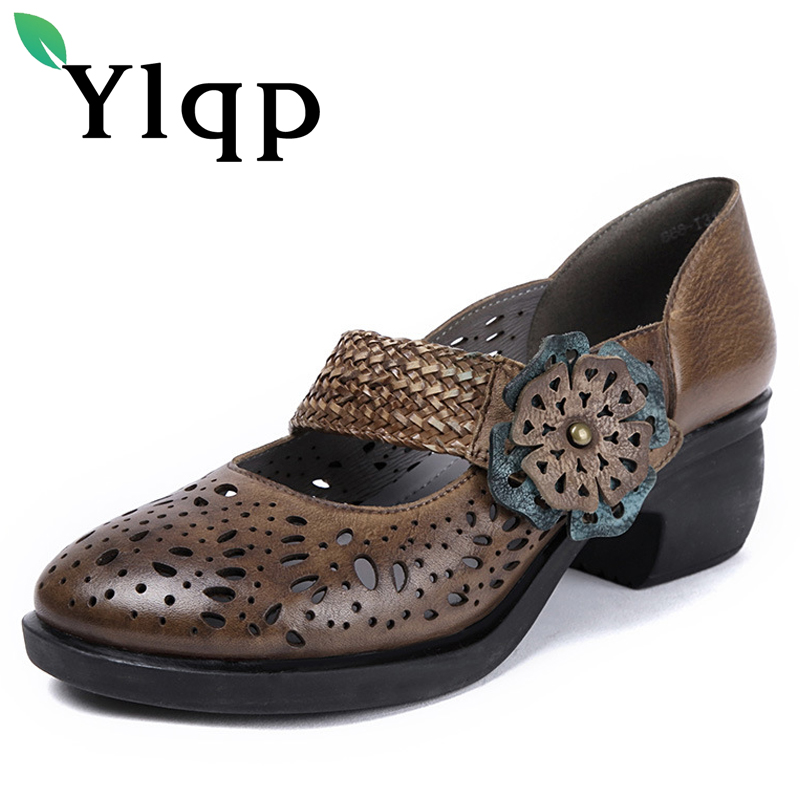 Ylqp Brand Vintage Floral Hollow Out Women Shoes Ladies Plus Size Mid Heels Genuine Leather Pumps Cowhide Shoes Sapato Feminino floral plus size lattice hollow out top