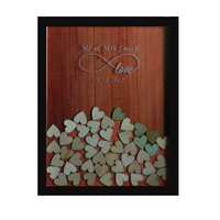 Personalized Hearts 130 Pcs Hand Writing Guest Book Multi Colors Rustic Drop Top Wooden Wedding Guest