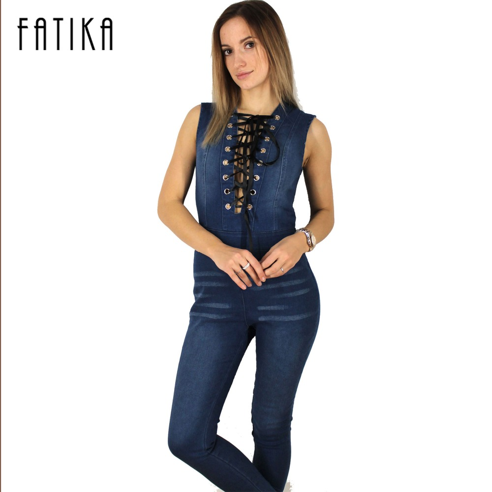 20a8b28e08a FATIKA Women Lace Up Denim Jumpsuit Sleeveless Slim Back Zipper Long Jeans  Romper Plus Size Bodycon Overalls-in Jumpsuits from Women s Clothing   ...