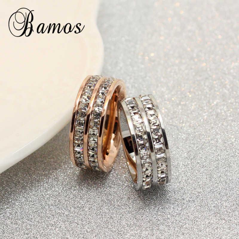 หญิงหรูหราคริสตัล Zircon แหวนหิน 925 Silver & Rose Gold แหวนสัญญาหมั้นแหวน
