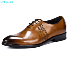 QYFCIOUFU Fashion Comfort Men Business Shoes Luxury Carving Dress Genuine Leather Quality Cow Lace Up Formal