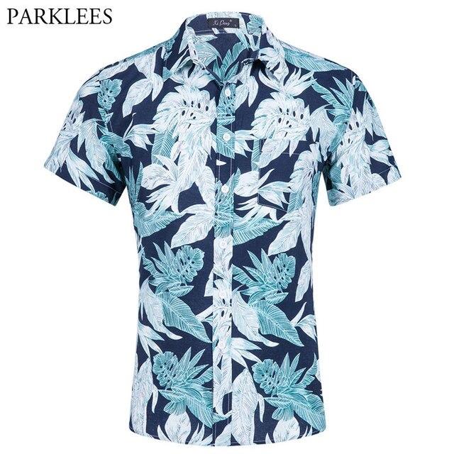 1eb50944c9 Do Moderno dos homens Manga Curta Camisa Havaiana Bach Verão 2018 Da Marca  Slim Fit Algodão