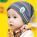 Мода цветной полосой дети ребенка шляпу хлопок мальчик девочка кап весна осень дети комплект головкой 5 шт. смешать бесплатная доставка