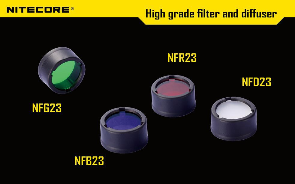 Free Shipping 1pc Nitecore Colour Filter(22.5mm) NFR23 NFB23 NFG23 NFD23 Suitable For The Flashlight With Head Of 22.5mm