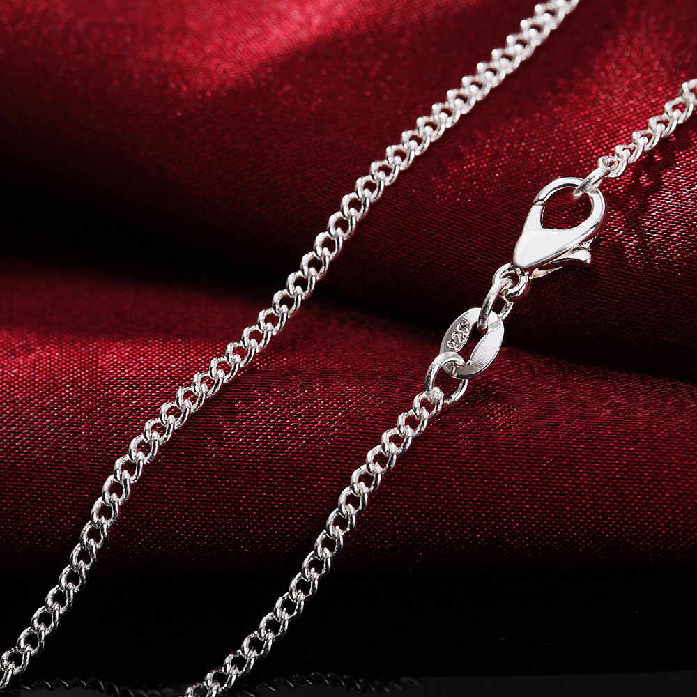 Moda kobiety mężczyźni naszyjnik 2MM srebrny naszyjnik choker łańcuszek biżuteria akcesoria wykwintne naszyjniki moment obrotowy ozdoby naszyjniki