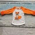 Envío gratuito cabritos de la ropa de los bebés fox raglans glas ruffle raglan tops camisetas chicas casual tops otoño Camiseta superior