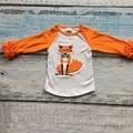 O envio gratuito de bebê meninas raposa raglans roupa dos miúdos de confeiteiro irritar raglan tops camisas meninas casual tops queda do Outono T-shirt top