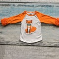 free shipping baby girls fox raglans clothes kids icing ruffle raglan tops shirts girls casual tops fall Autumn top T-shirt