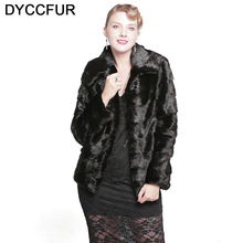 DYCCFUR 2017 mink fur coat with hood natural Warm fur Solid real mink coats full sleeve genuine jacket lady slim black fur coat