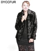 DYCCFUR 2017 Mink Fur Coat With Hood Natural Warm Fur Solid Real Mink Coats Full Sleeve