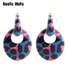 NeeFu WoFu Big Tiger Earrings For Woman Dangle Zinc alloy Discoloration Stone Large Long Brinco Ear Leopard Christmas