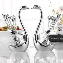 1PCS Zinc Alloy Fork Spoon Tableware Stand Holder Swan Shaped Fruit Food Fork Spoon Knife Base Holder Kitchen Tools