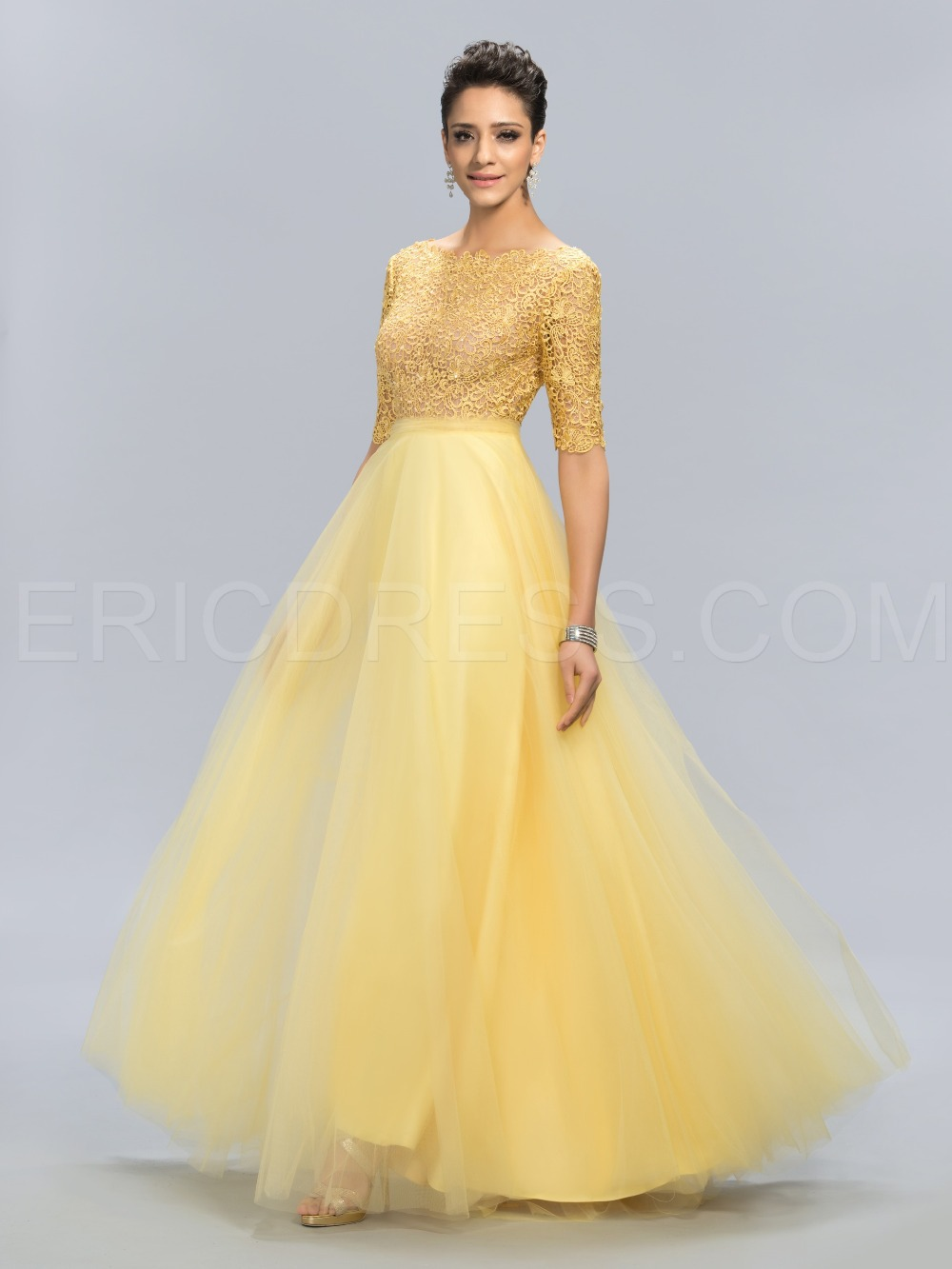 c477ea9cfa5a0 Latest Design Prom Long Lace Yellow A Line Evening Dress 2015 Graceful Open  Back Evening Gown See Througn Half Sleeve Party Gown-in Evening Dresses  from ...