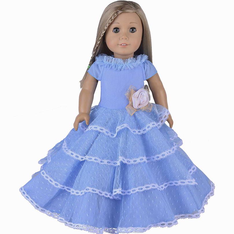 Elegant Style Blue Palace Dress Doll Clothes For 18 American Girl Handmade