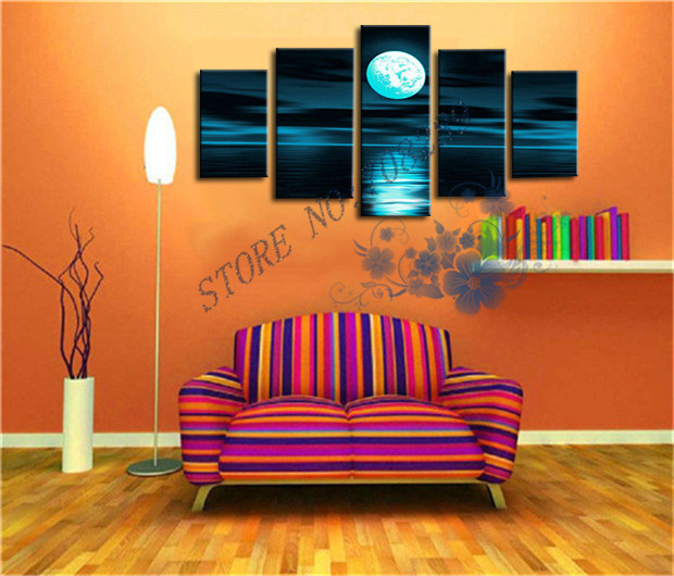 3 Color Modern Abstract Night Moon Oil Painting Hand Painted Canvas Painting  Home Decor Wall Art