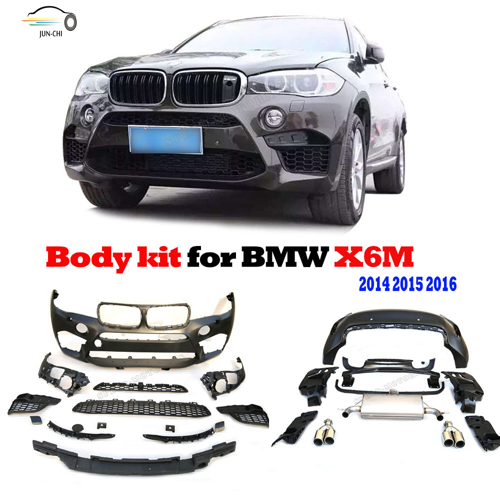 buy pp bumper body kit fit for bmw x6 m 2014 2015 2016 m style auto racing car. Black Bedroom Furniture Sets. Home Design Ideas