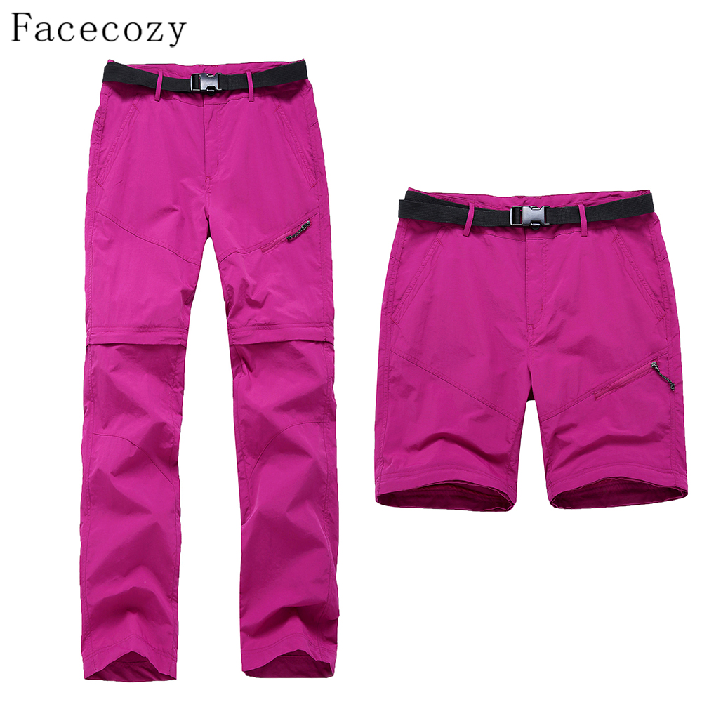 Facecozy 2019 Women Outdoor Hiking Camping Fast Dry Pants Female Breatnable Ultralight Quick Dry Removable Thin Trousers
