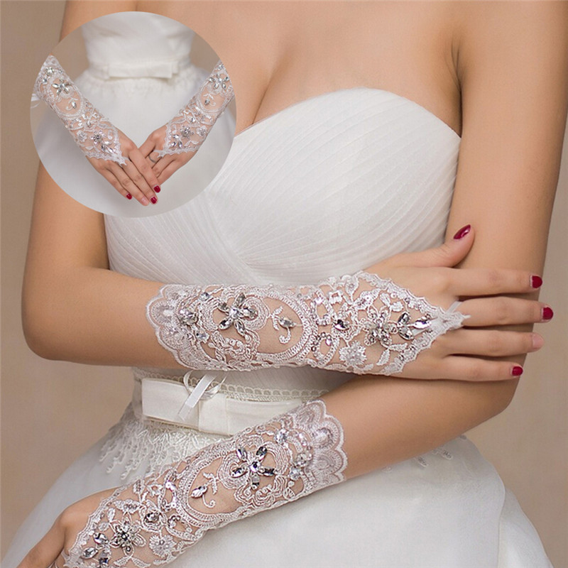 1 Pair White Ivory Women Fingerless Bridal Gloves Elegant Short Paragraph Rhinestone White Lace Glove Wedding Accessories