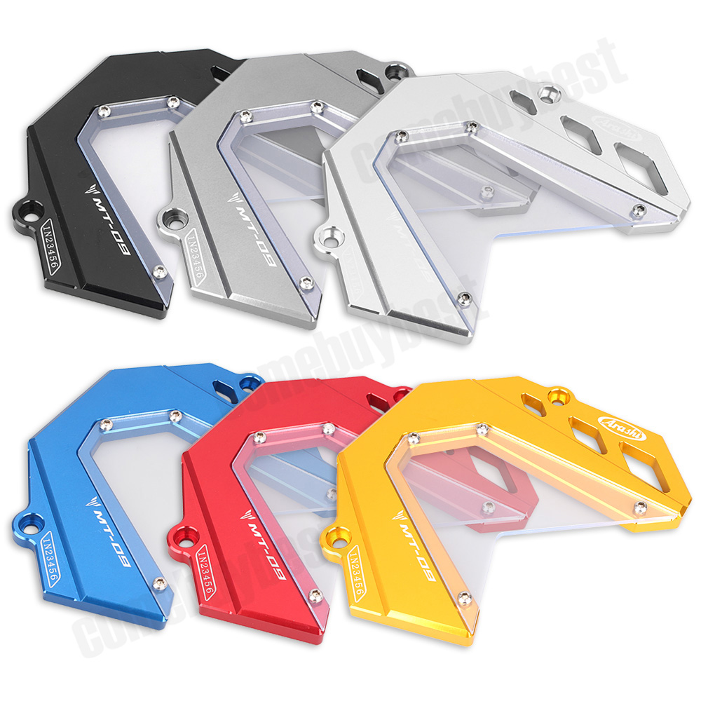 ФОТО CNC Motorcycle Engine Front Sprocket Cover Chain Guard Protector For YAMAHA MT-09 2014 2015 Black Gray Silver Gold Red Blue