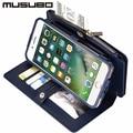 Musubo luxo wallet case para iphone 7 genuine casos de couro capa para iphone 7 plus 6 s mais 6 mais 5 5S se case 7 mais saco do telefone