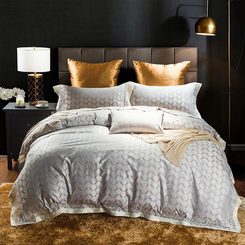 Silk stain Jacquard gray Luxury Royal Bedding set 4Pcs King Queen size bed sheet set Duvet cover pillow shamsSilk stain Jacquard gray Luxury Royal Bedding set 4Pcs King Queen size bed sheet set Duvet cover pillow shams
